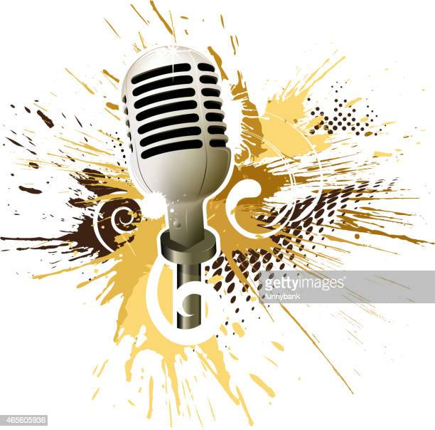 old microphone - drop the mic stock illustrations