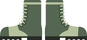 Old military boots leather combat soldier footwear vector illustration