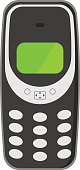 Old mobile phone technology retro cellphone vector illustration