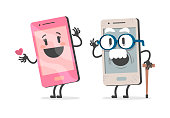 Old mobile phone with white mustache and wrinkles. With a cane in his hand. Flirting with a charming younger mobile woman, like a dirty old man. Flat design, vector illustration.