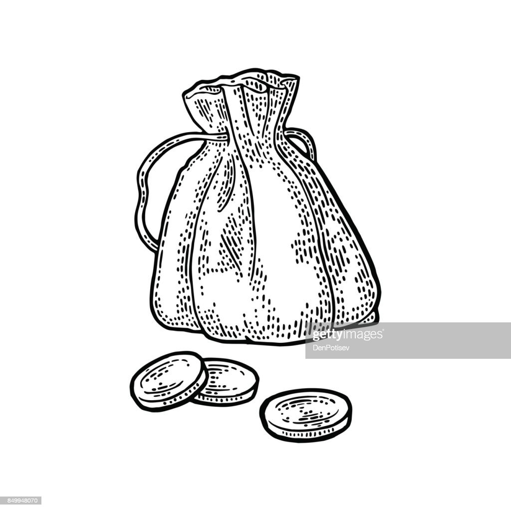 Old money bag with coins. Vintage black vector engraving