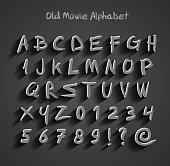 Old movie calligraphy alphabet