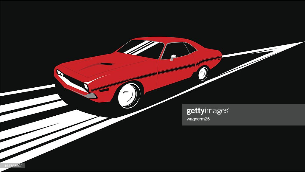Old Muscle Car Running Over Track High-Res Vector Graphic ...