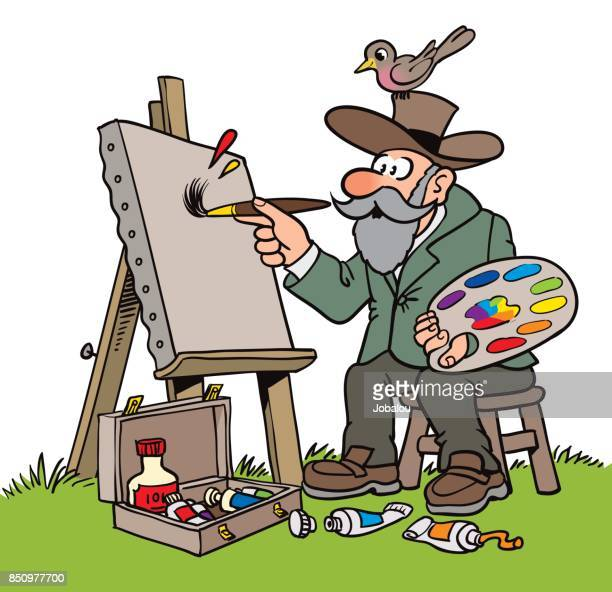Old Nature Painter Cartoon