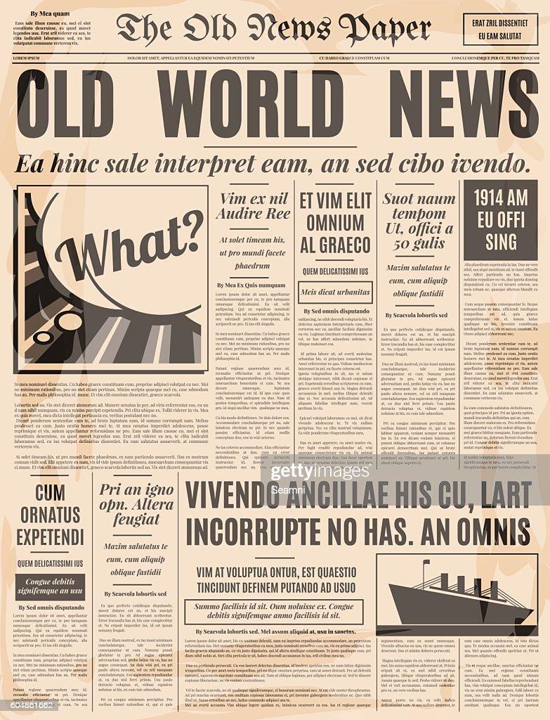 Old newspaper design vector template.