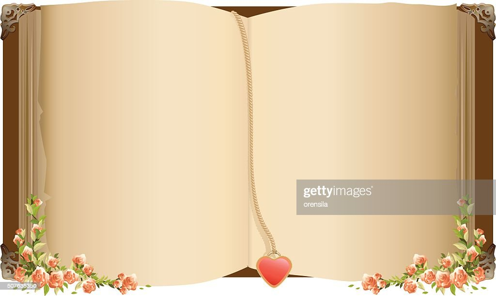 Old open book with bookmark in heart shape
