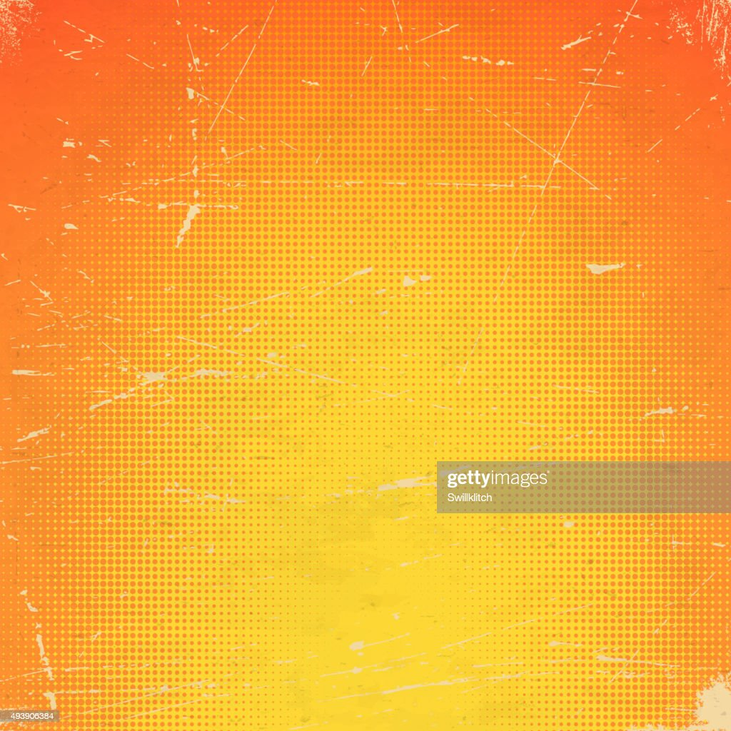 Old orange scratched card with halftone gradient