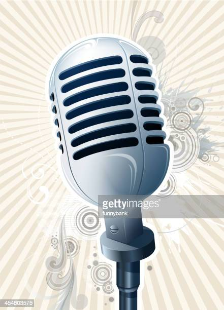old ornate microphone - drop the mic stock illustrations