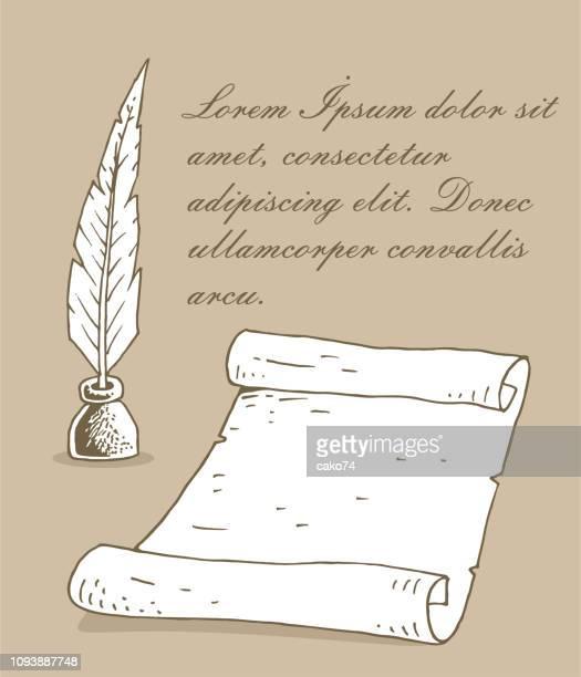 altes papier und feder stift - papyrus stock-grafiken, -clipart, -cartoons und -symbole