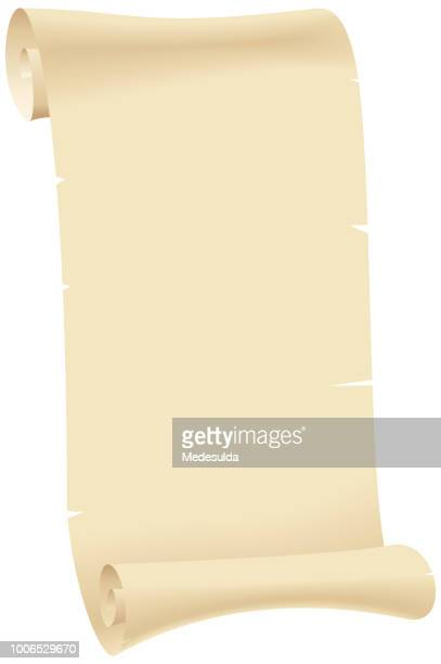 old paper sheet scroll - papyrus paper stock illustrations