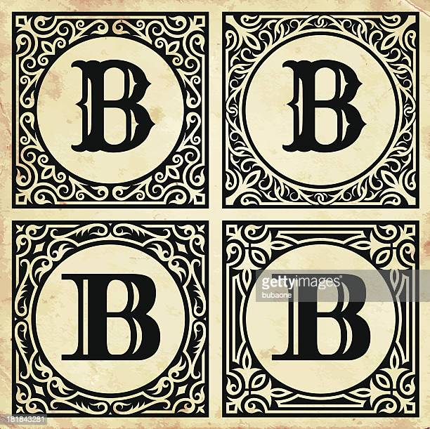 old paper with decorative letter b - letter b stock illustrations