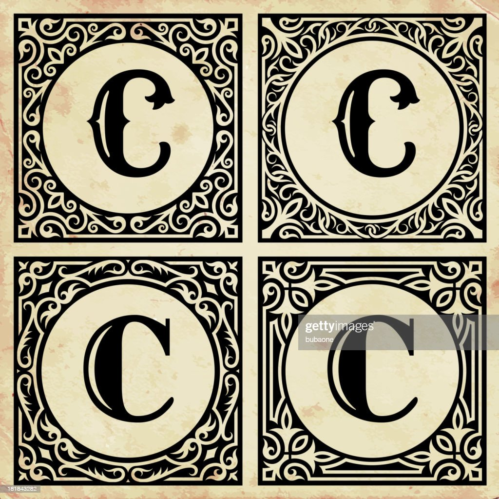 Decorative Letter C Old Paper With Decorative Letter C Vector Art  Getty Images