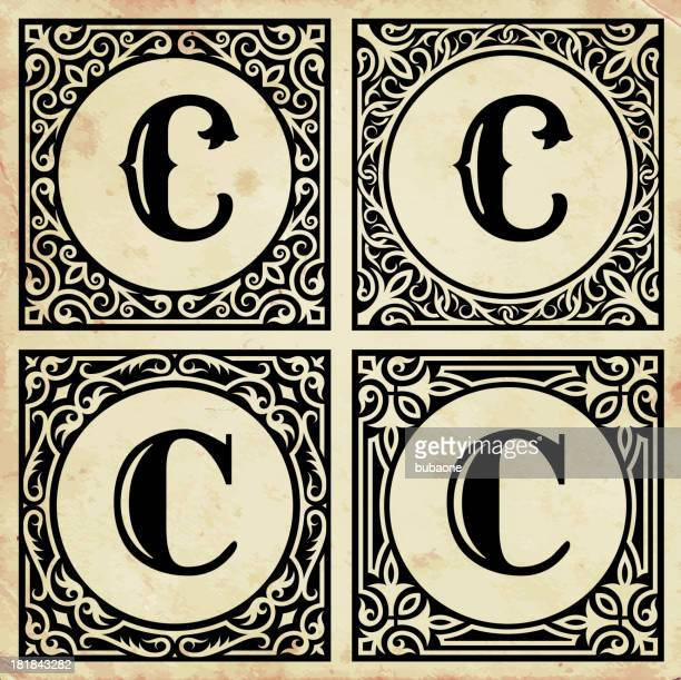old paper with decorative letter c - letter c stock illustrations, clip art, cartoons, & icons