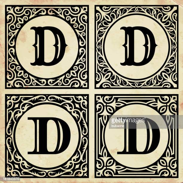 old paper with decorative letter d - letter d stock illustrations, clip art, cartoons, & icons