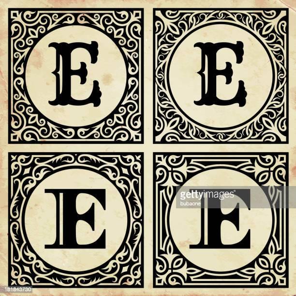ilustraciones, imágenes clip art, dibujos animados e iconos de stock de viejo papel decorativo letra e - letrae