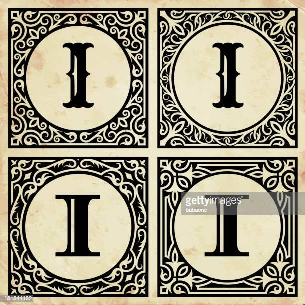 old paper with decorative letter i - letter i stock illustrations