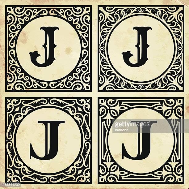 ilustrações de stock, clip art, desenhos animados e ícones de antigo papel com decorativo latina j - letraj