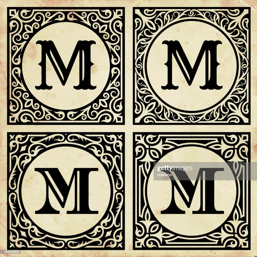 old paper with decorative letter m vector art getty images