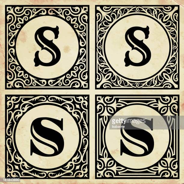 old paper with decorative letter s - letter s stock illustrations, clip art, cartoons, & icons