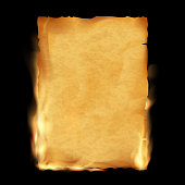 Old parchment is burning. Vintage grunge texture.