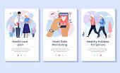 Old people care concept illustration set.