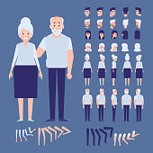 Old people creation set. Vector cartoon characters for animation
