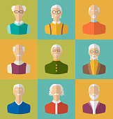 Old people Icons of Faces   Men. Grandfathers Characters
