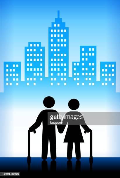 都市の古い人々 - 年配のカップル点のイラスト素材/クリップアート素材/マンガ素材/アイコン素材