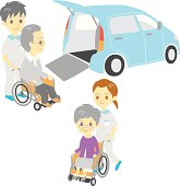 old people in wheelchairs, Adapted Vehicle, carers