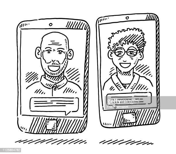 Alte Menschen Smartphone Kommunikation Zeichnung