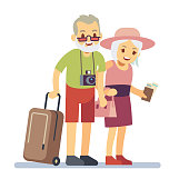 Old people travelers on holiday. Smiling grandparents on vacation. Happy elderly veteran traveling vector concept