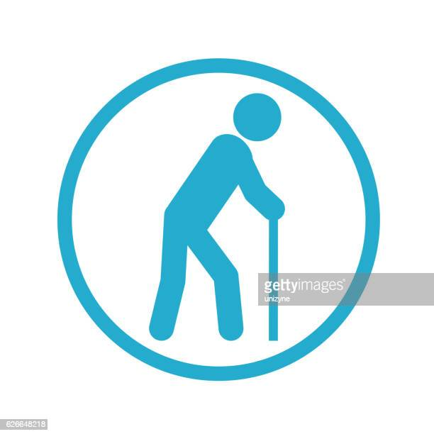 old person icon - walking cane stock illustrations