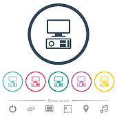 Old personal computer flat color icons in round outlines