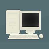 Old Personal Computer Vector Illustration eps10, retro