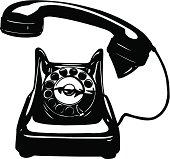 Old Phone Rotary Vector Cartoon Clipart