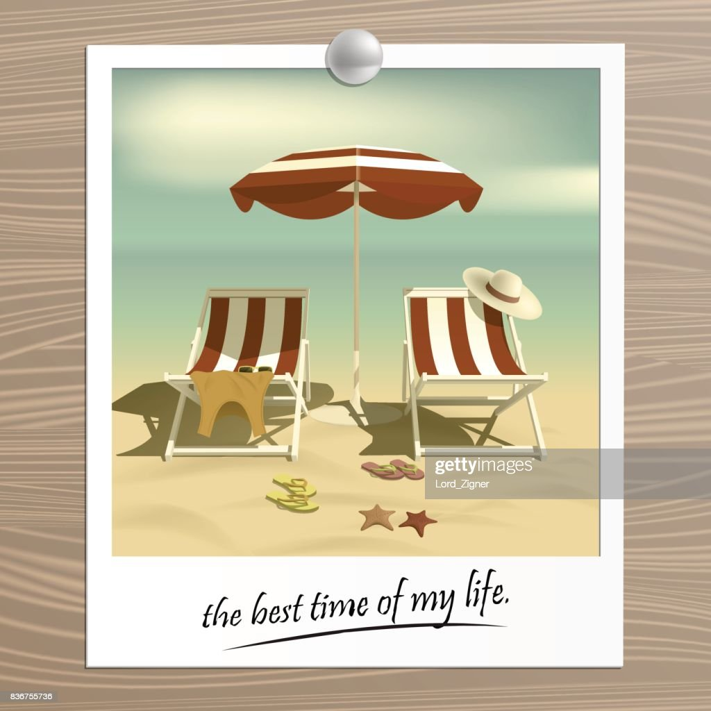 Old photo. Summer. Recliners and Beach umbrella. Sea. Vector Illustration