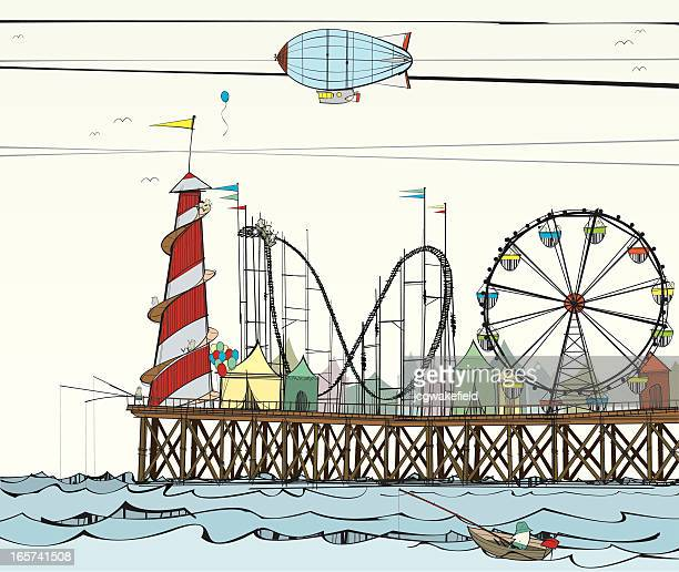 old pier with fairground attractions - ferris wheel stock illustrations, clip art, cartoons, & icons