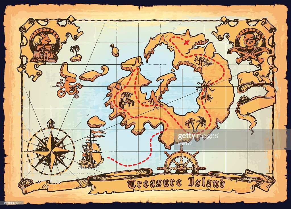Old pirate map. Skull Island treasure vector map