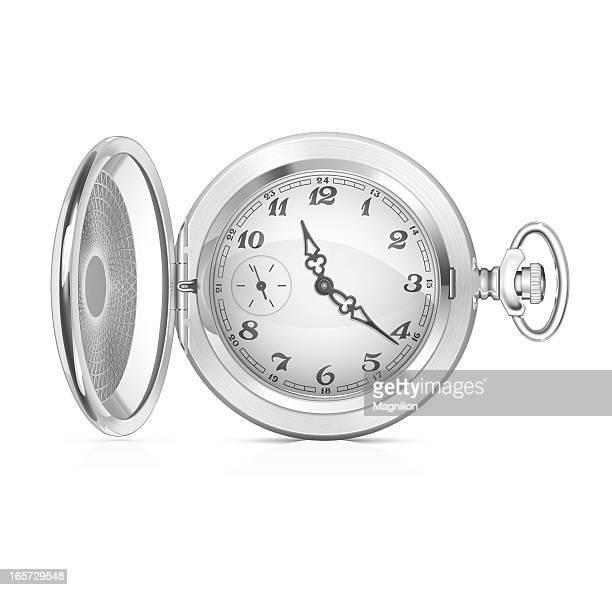 ilustraciones, imágenes clip art, dibujos animados e iconos de stock de antiguo reloj de bolsillo - reloj de bolsillo