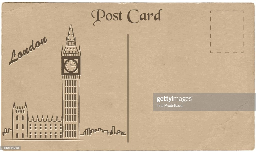 Old postcard from London with a drawing of Elizabeth Tower. Stylization.
