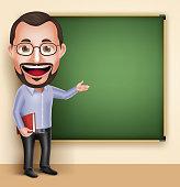 Old Professor Teacher Man Vector Character Speaking or Talking