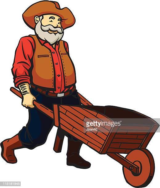 old prospector - wheelbarrow stock illustrations, clip art, cartoons, & icons