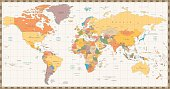 Old retro color political World map