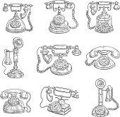 Old retro phones pencil sketch icons