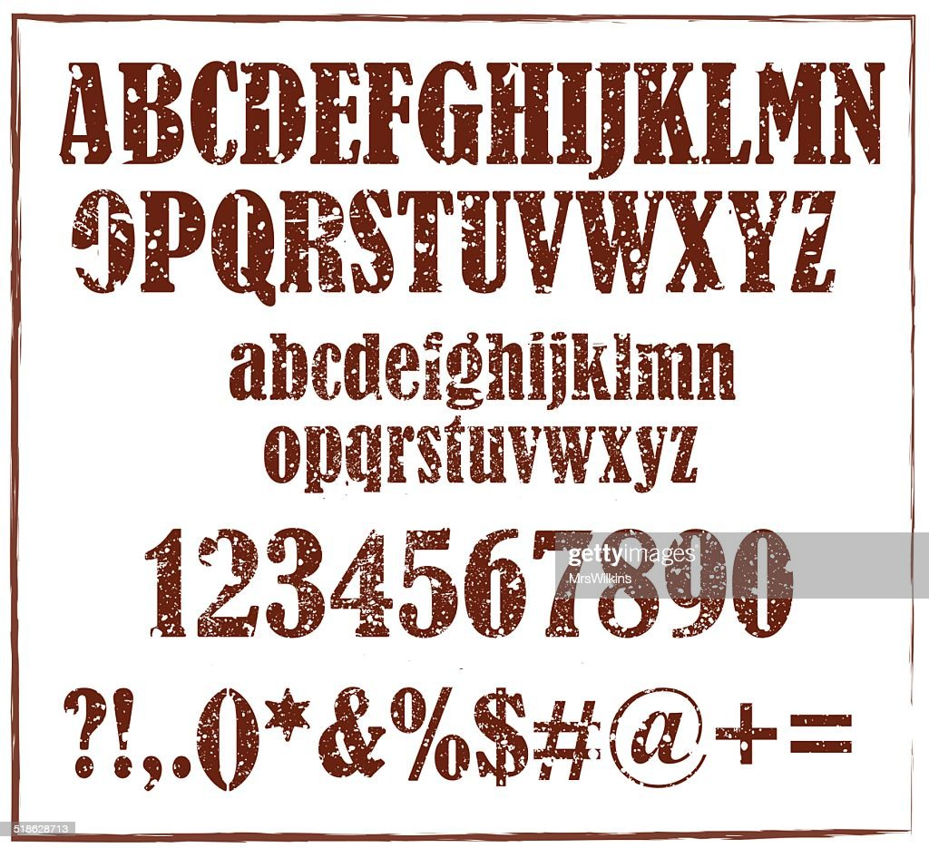 Old  retro rubber stamp  alphabet with numbers and signs vector