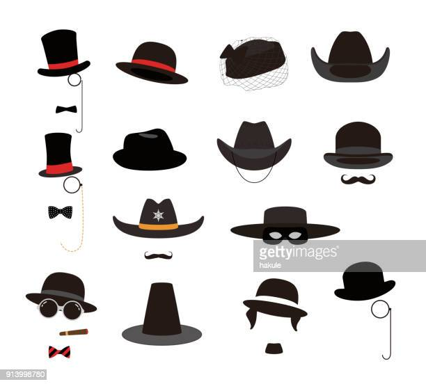 old retro style hat set, vector illustration - hat stock illustrations