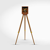 Old Retro Wooden Photo Camera on a Tripod. 3D Realistic Vector Illustration