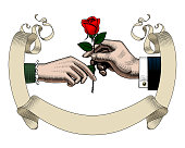 Old ribbon banner, hands of man and woman with red rose