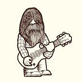 Old rocker man playing guitar