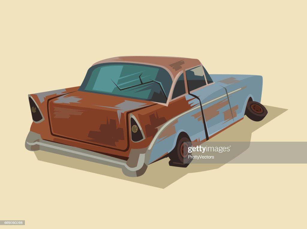 Old rusty broken car
